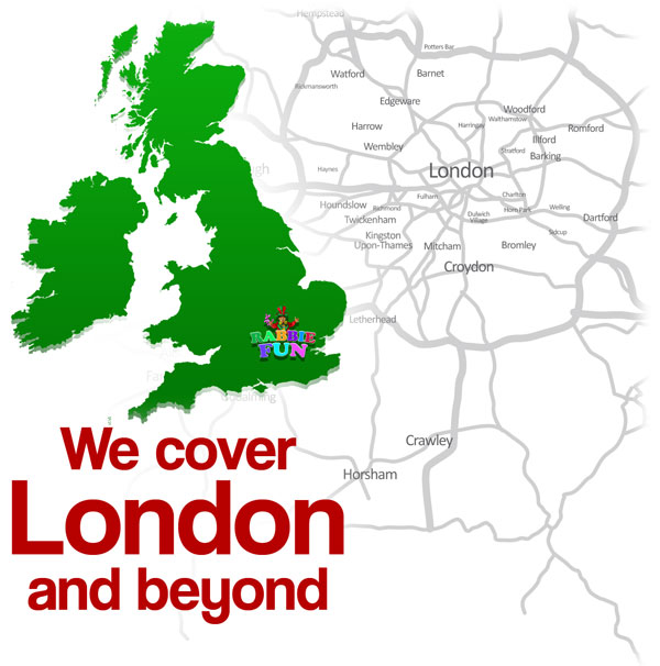 London based children's entertainer located on UK map